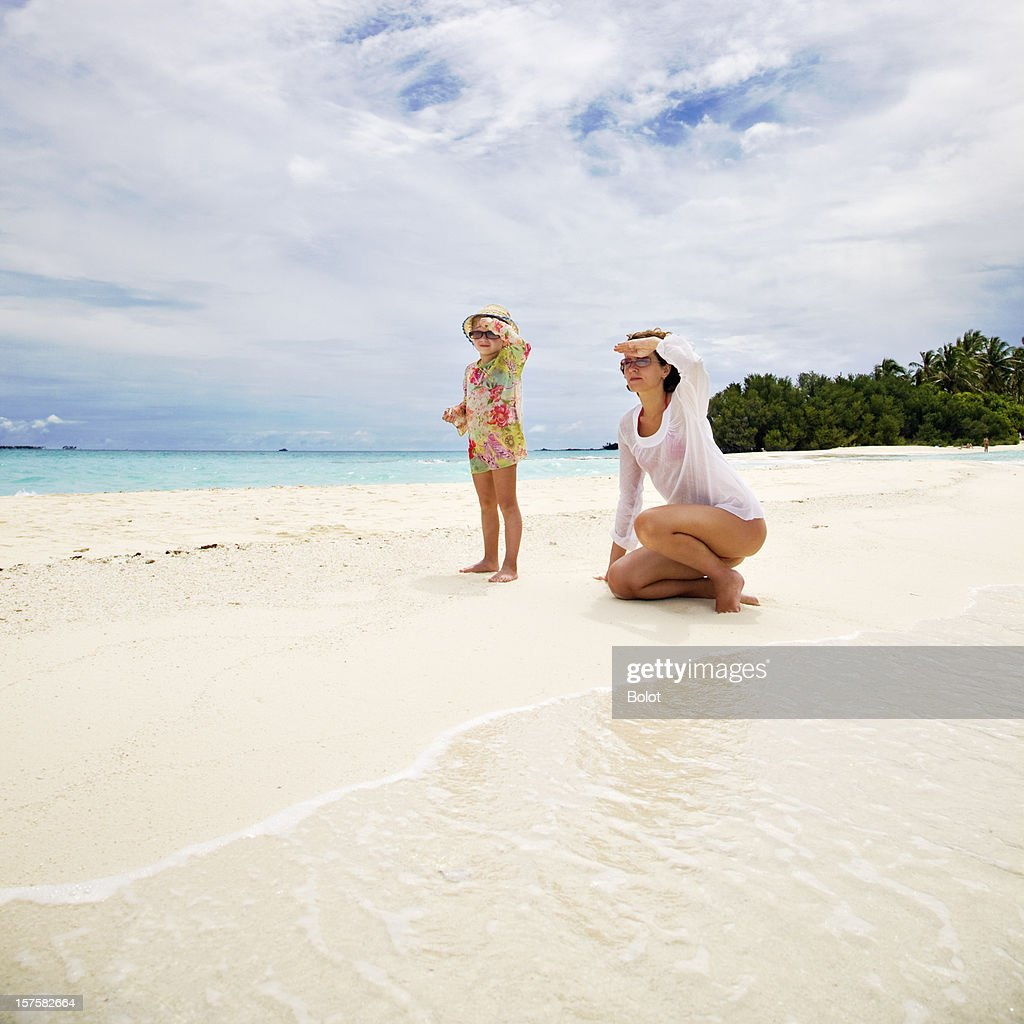 Mother and Little Daughter on Tropical Beach : Stock Photo