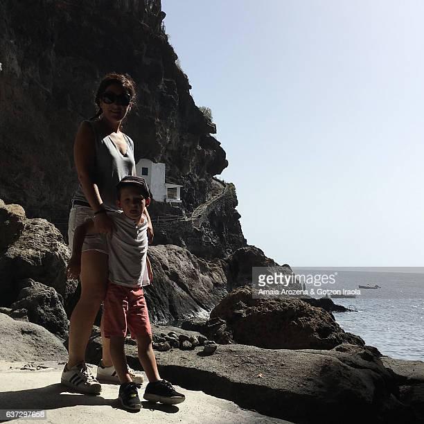 Mother and little son in Poris de Candelaria, Tijarafe. La Palma island, Canary islands. Spain.