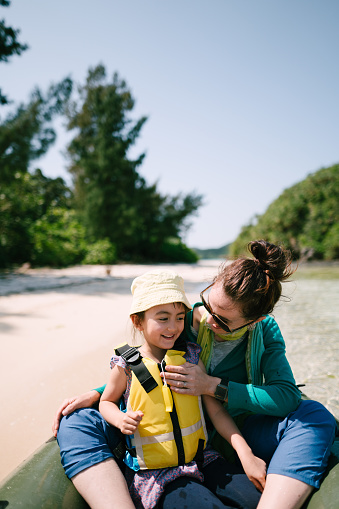 Mother and mixed race preschool child having fun on kayak, Ishigaki Island, Japan - gettyimageskorea