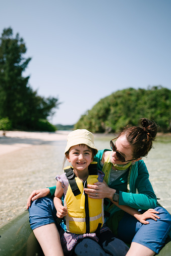Mother and preschool girl having fun on kayak, Ishigaki Island, Japan - gettyimageskorea