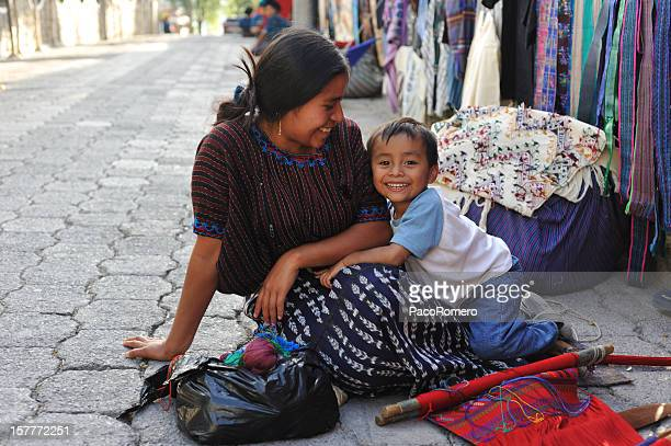 mother and small child in santa catarina poropo,  guatemala - guatemala stock pictures, royalty-free photos & images