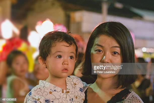 Mother and Son at a Japanese summer festival