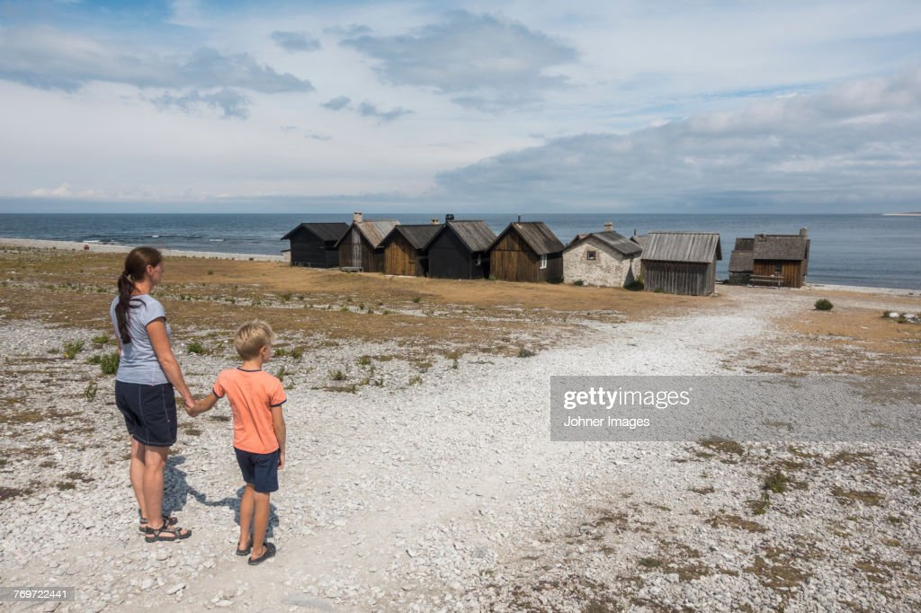 Mother and son at sea : Stock Photo