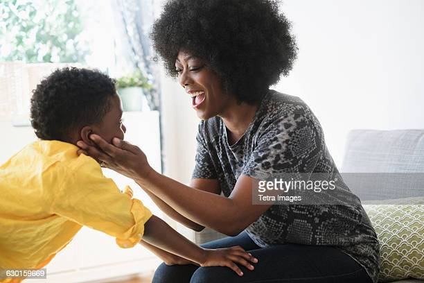 Mother and son (6-7) bonding