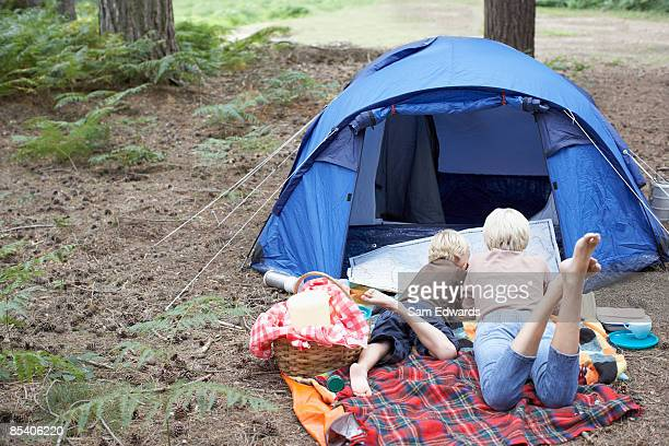 Mother and son camping