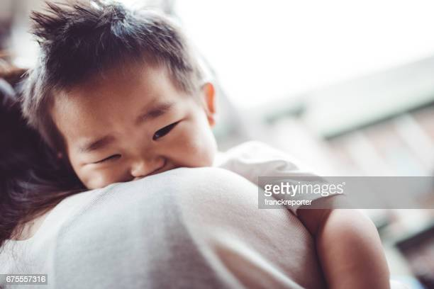 mother and son chinese portrait - i love you stock pictures, royalty-free photos & images