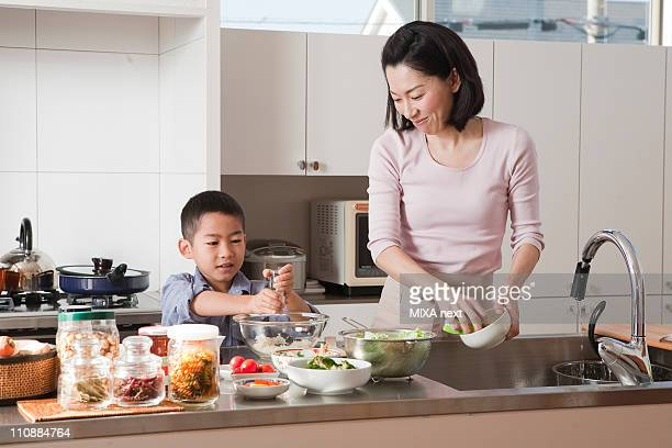 Mother and Son Cooking Together