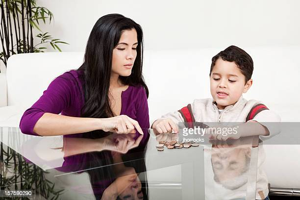 Mother and Son Counting Change