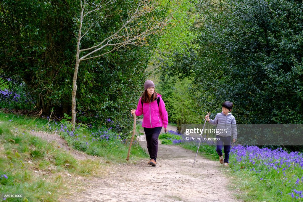 Mother and son countryside walk : Stock Photo