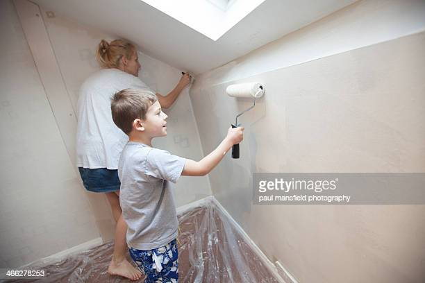 Mother and son decorating