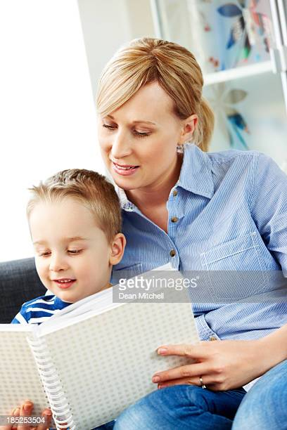 Mother and son enjoying a fairy tale