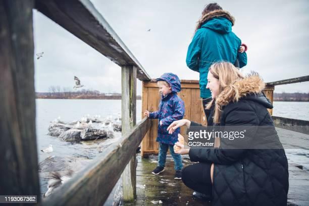 mutter und sohn genießen fütterung der enten in der nähe des sees - herbst winter kollektion stock-fotos und bilder
