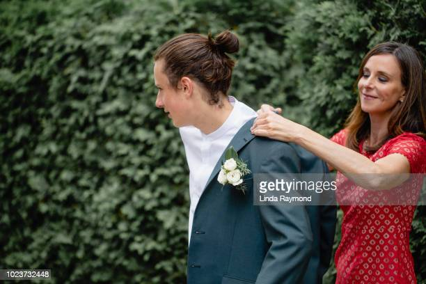 mother and son for prom night - prom stock pictures, royalty-free photos & images