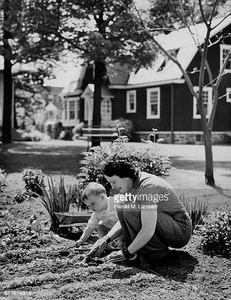 mother and son gardening  - {{relatedsearchurl(carousel.phrase)}} stock pictures, royalty-free photos & images