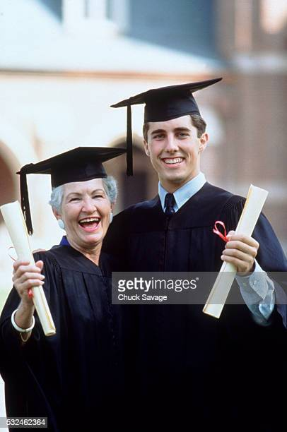 Mother and son graduating together