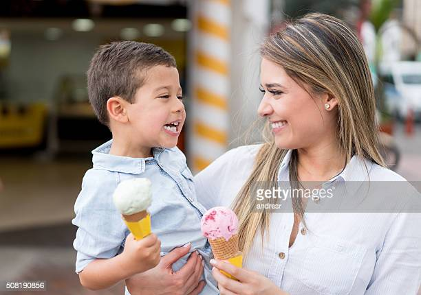Mother and son having an ice cream