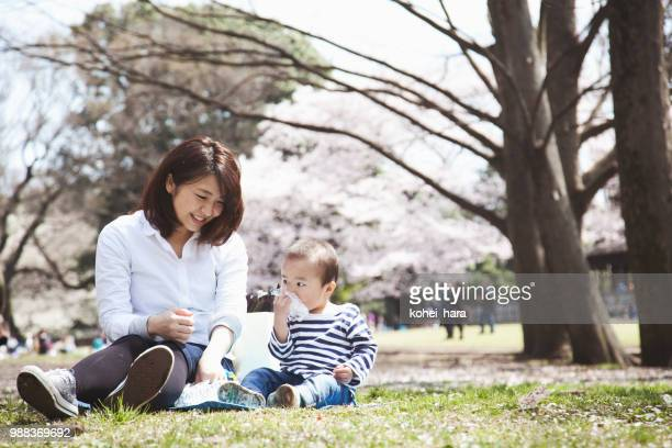 mother and son having lunch and enjoying hanami in the park - hanami stock pictures, royalty-free photos & images