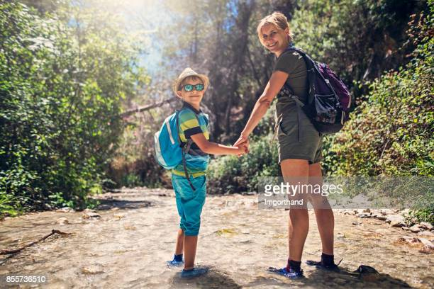 Mother and son hiking in Andalusia, Spain