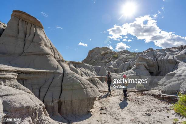 mother and son hiking in badlands of dinosaur provincial park in alberta, canada - unesco world heritage site stock pictures, royalty-free photos & images