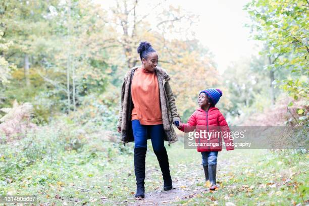 mother and son holding hands in forest - autumn stock pictures, royalty-free photos & images