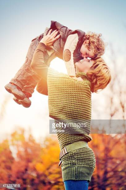 Mother and son in autumn
