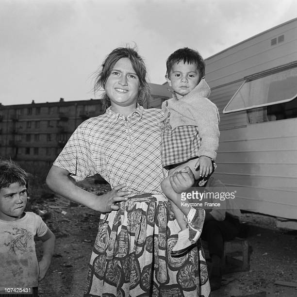 Mother And Son In Gypsy In Paris Area On 1955