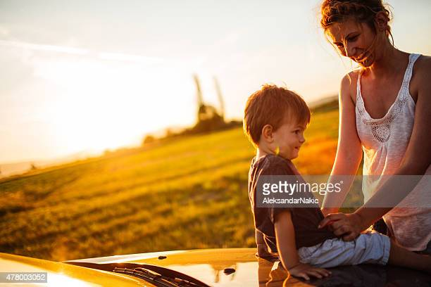 Mother and son on a road trip