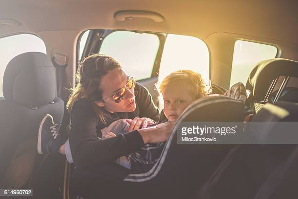Mother and son on the road trip