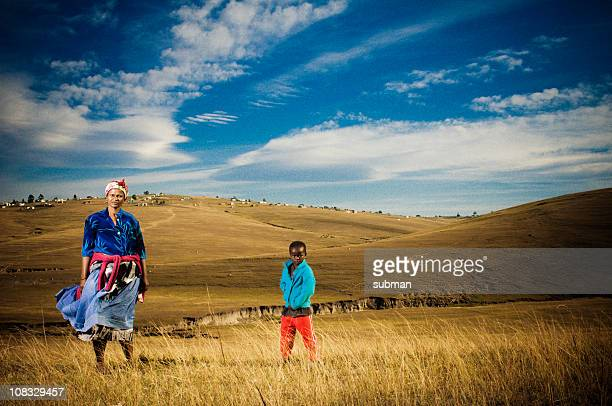 mother and son - xhosa culture stock photos and pictures