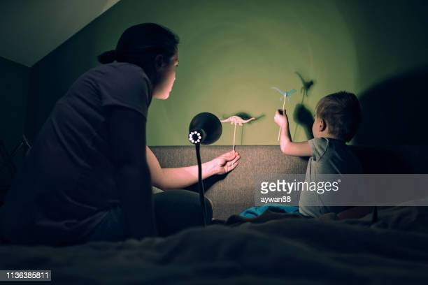 mother and son playing with dinosaur shadows - shadow puppet stock photos and pictures