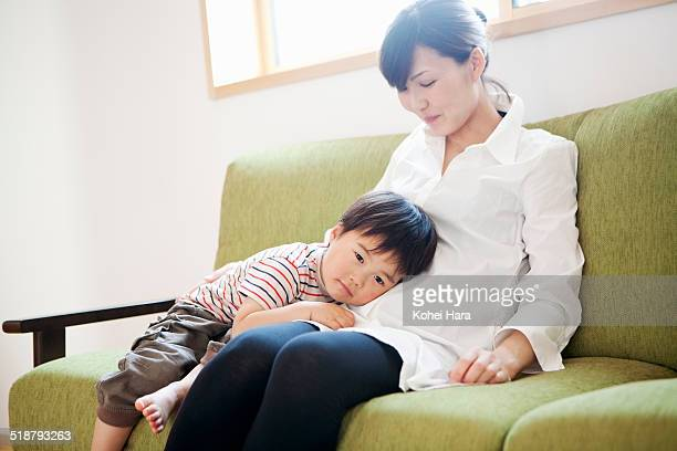 mother and son relaxed at home