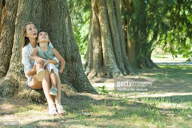 mother and son, sitting on base of tree, looking up - mom sits on sons lap stock pictures, royalty-free photos & images