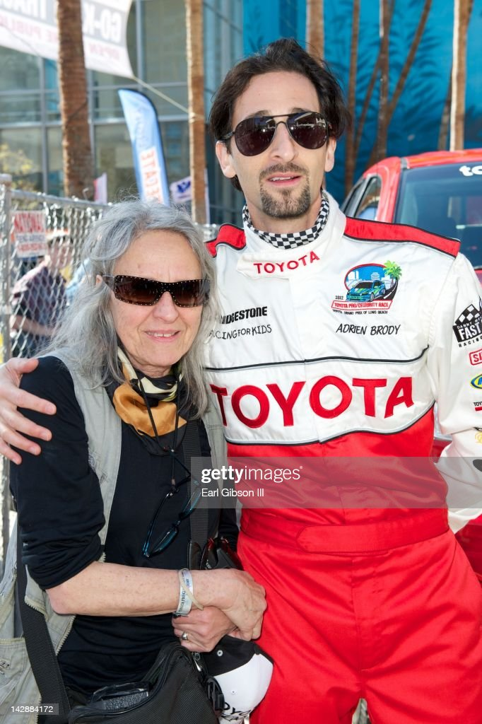 Mother and Son (L-R) Sylvia Plachy and Adrien Brody at the 36th Annual 2012 Toyota Pro/Celebrity Race Compound on April 14, 2012 in Long Beach, California.