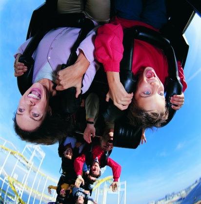 Mother and Son upside Down on a Roller Coaster - gettyimageskorea