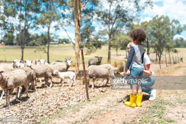 Mother and son visiting an organic farm in Australia