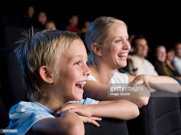 Mother and son watching a movie