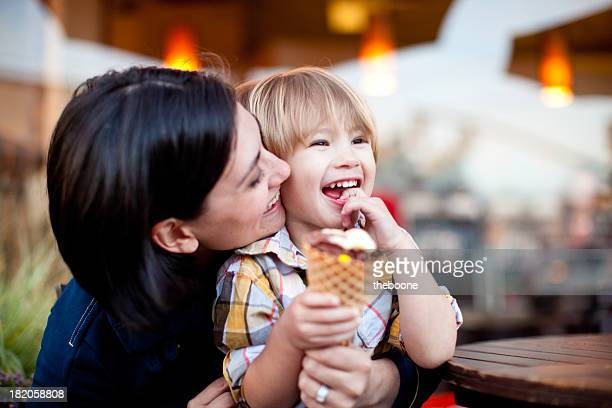 Mother and son with ice cream cone