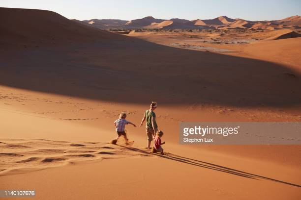 mother and sons walking on sand dune, namib naukluft national park, namib desert, sossusvlei, dead vlei, africa - セスリエム ストックフォトと画像