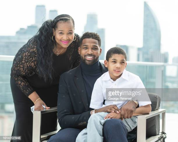 Mother Andrea Thompson, NBA Player Tristan Thompson and brother Amari Thompson attend The Amari Thompson Soiree in support of Epilepsy Toronto at The...