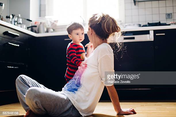 mother berating her little kid son - penalty stock pictures, royalty-free photos & images