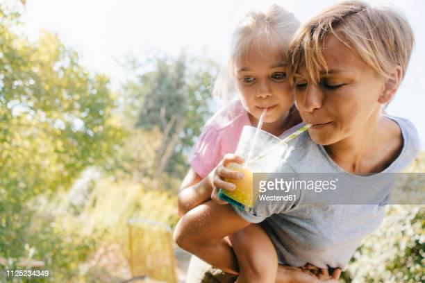 mother carrying daughter piggyback in garden drinking a smoothie - teilen stock-fotos und bilder