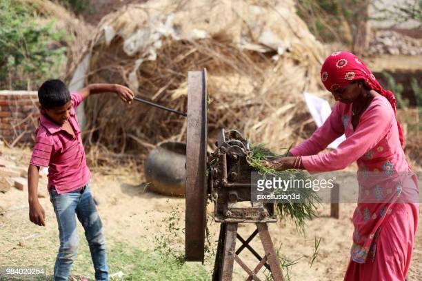 Moeder & kind snijden dierlijk voedsel