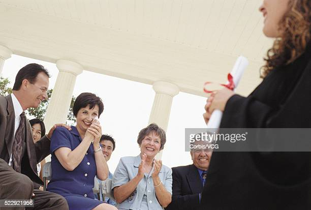 Mother Crying as Her Daughter Graduates