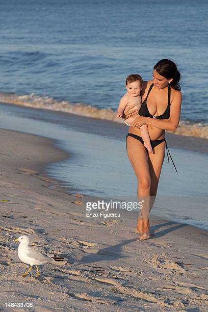 Mother, daughter and seagull