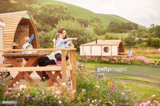mother , daughter and son on holiday at a yurt - yurt stock pictures, royalty-free photos & images