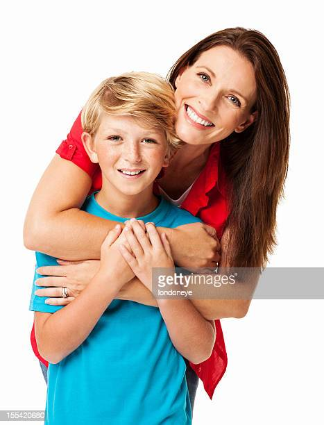 Mother Embracing Her Son From Behind - Isolated