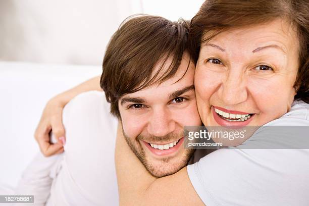 Mother embracing Son - Copy Space