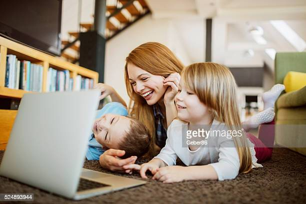 Mother enjoying time with kids