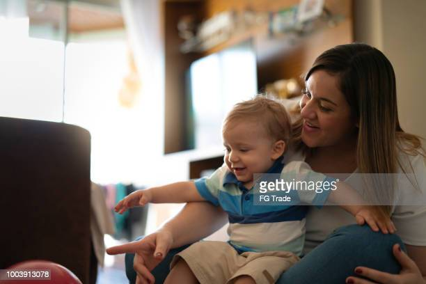Mother Enjoying your Day Off With Her Cute Baby Boy at Home