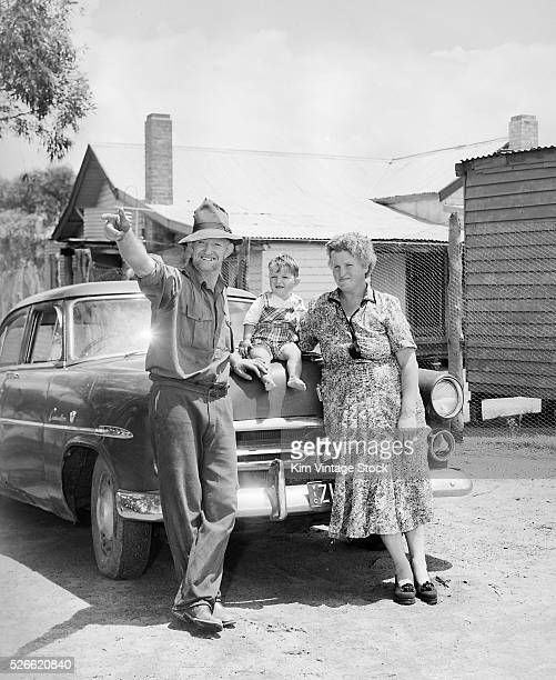 Mother father and child at their Australian home ca 1955